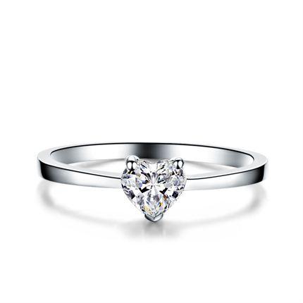【诠释爱】 白18K金心形钻石女士戒指