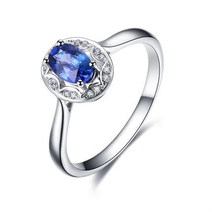 【花形】 白18K金深蓝宝石女士戒指