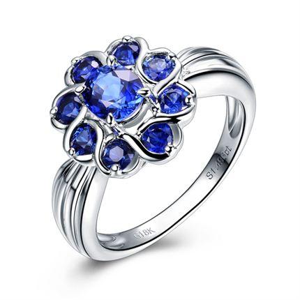 【倾城之恋】系列 白18K金共1.4克拉蓝宝石戒指