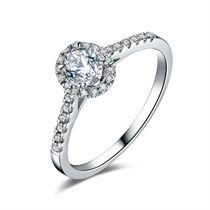 【吻婉】 白18K金钻石女士戒指