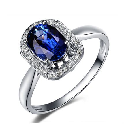 【华美】 白18K金宝石戒指