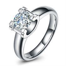 【C字文化】 白18K金钻石女士戒指