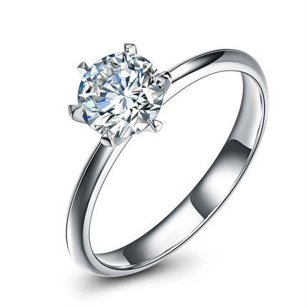 【皇冠】 白18K金30分/0.3克拉钻石女士戒指