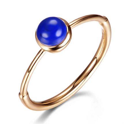 【湛蓝炎天】系列 黄18K金圆形青金石女戒戒指