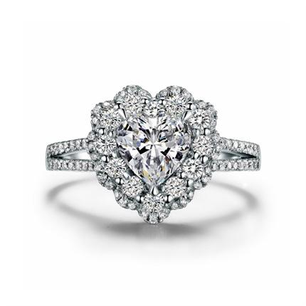 【绝世美丽】 白18K金 钻石女士戒指