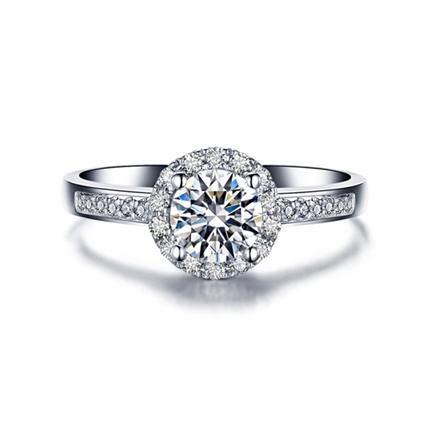 【闪耀】系列 白18K金钻石求婚/结婚钻戒