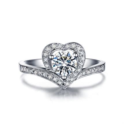 【初心】系列 白18K金钻石女士戒指