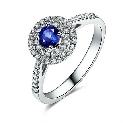 【蓝色魅影】 白18K金蓝宝石钻石戒指