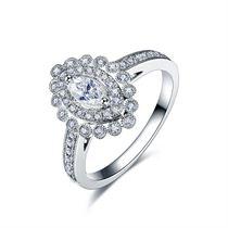 【爱情橄榄枝】 白18K金钻石女士戒指