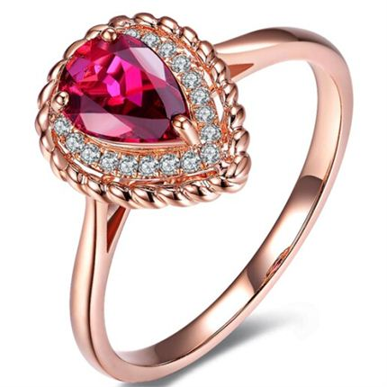 【雅典娜之泪】系列 天然红碧玺玫瑰金女士戒指