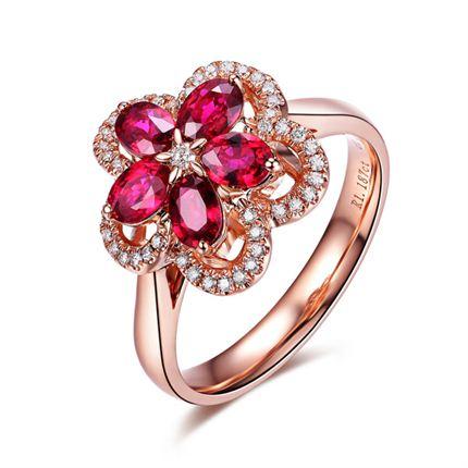 【寻梅】系列套装 玫瑰金 红宝石密斯戒指