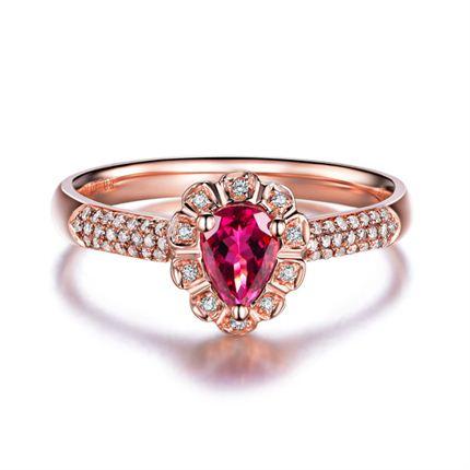 【动心】 玫瑰18K金 红宝石女士戒指