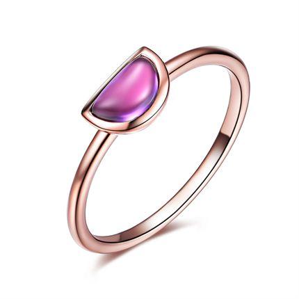 【紫气东来】系列 玫瑰18k金时尚紫晶戒指婚戒