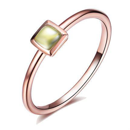 【想你】 玫瑰18k金时髦橄榄石戒指