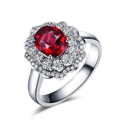 【火热熔岩】系列套装 白18K金红宝石密斯戒指