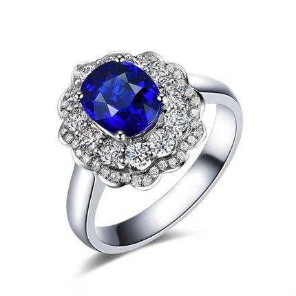 【火热熔岩】系列套装 白18K金深蓝宝石戒指