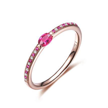 【情缘】 玫瑰金红宝石女士戒指