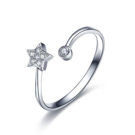 【风月之星】 白18K金钻石戒指