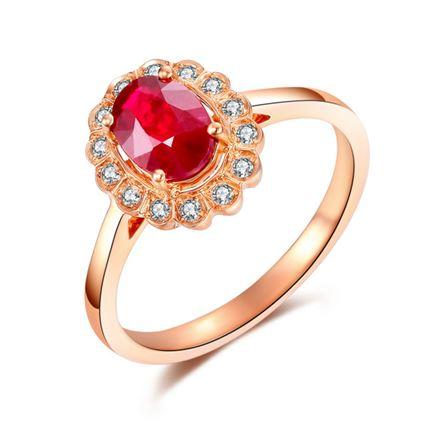 【红颜】系列 玫瑰18K金红宝石戒指