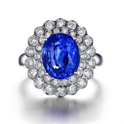 【蓝色海洋】 白18K金蓝宝石女士戒指