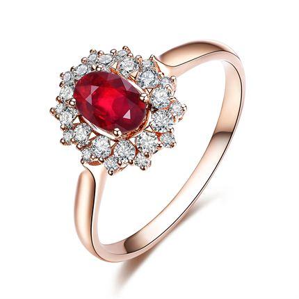 【簇拥】系列 玫瑰金红宝石戒指