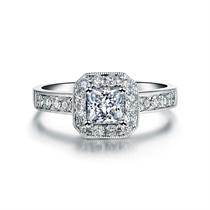 【幸福】 白18K金公主方钻石戒指 尊贵定制