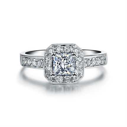 【幸福】 白18K金钻石戒指 尊贵定制