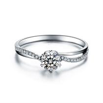 【纯情】 铂金PT950群镶求婚结婚钻石戒指