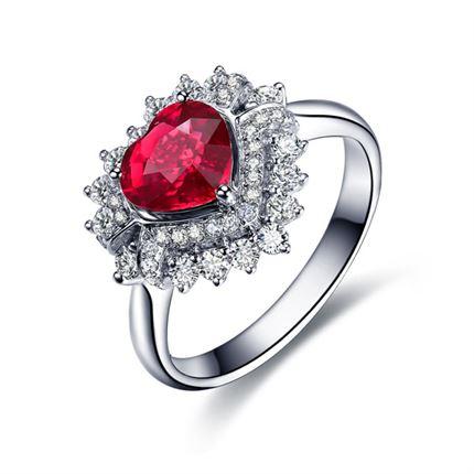 【王妃】 白18K金红宝石戒指