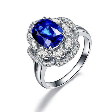 【蓝色迷情】 白18K金蓝宝石钻石戒指