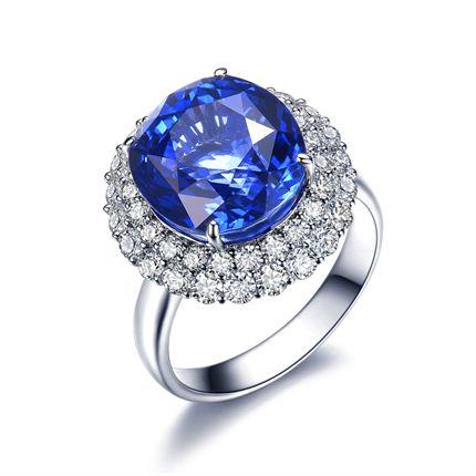 【深海情缘】 白18K金蓝宝石钻石戒指