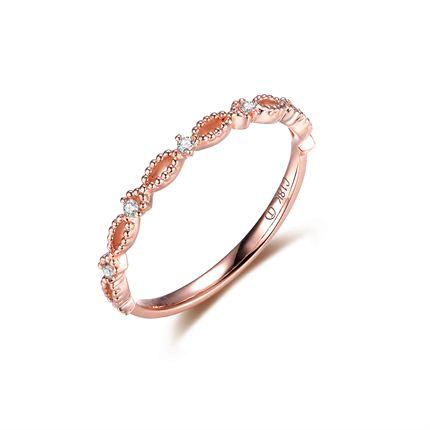 【心随】 玫瑰金钻石女士戒指排戒