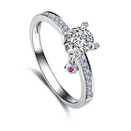 【咱们相爱吧】 白18K金钻石镶红宝石结婚戒指