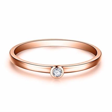 【极简】系列 玫瑰金3分/0.03克拉钻石女士戒指
