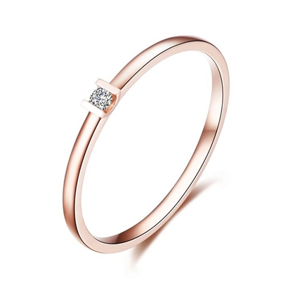 【簡約】 玫瑰金2分/0.02克拉鉆石女士戒指