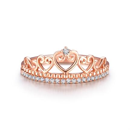 【公主-桂冠】  玫瑰18K金钻戒时尚皇冠钻石戒指