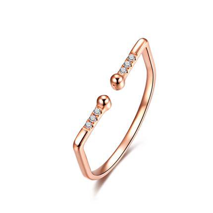【听心】系列 玫瑰18K金钻石戒指时尚潮流镶钻钻戒