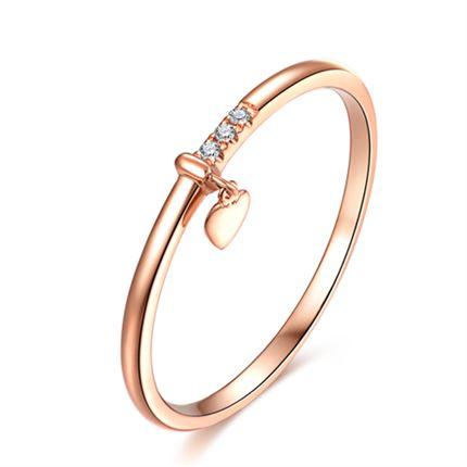 【听心】系列 玫瑰18K金钻石戒指个性时尚镶钻钻戒