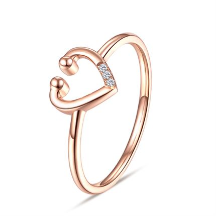 【听心】系列 玫瑰18K金钻石戒指心形群镶钻石女戒