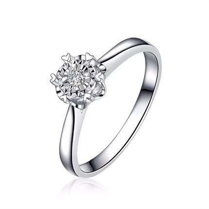 【车花显钻】 白18K金3分/0.03克拉钻石女士戒指