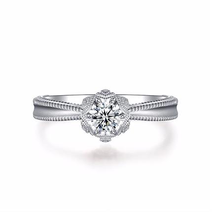 【初雪系列】 白18k金钻戒钻石求婚戒指
