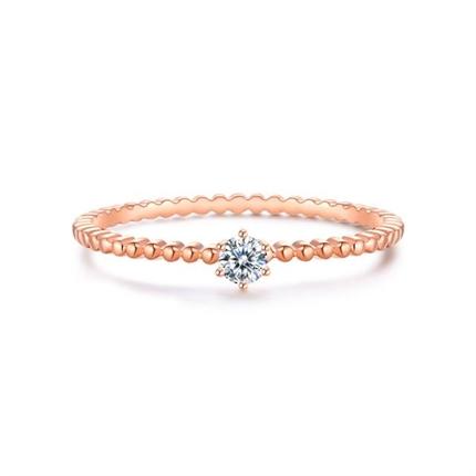 【幸運戒】 玫瑰18k金鑲鉆時尚閨蜜鉆戒簡約小鉆戒指
