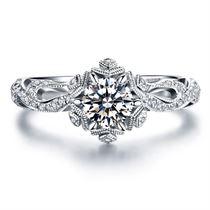 【初雪】系列 温暖的弦同款白18K金女款求婚结婚钻戒
