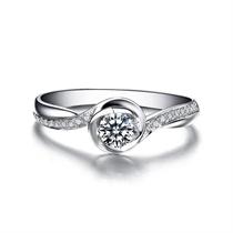 【浪漫心】 白18K金女款钻石戒指