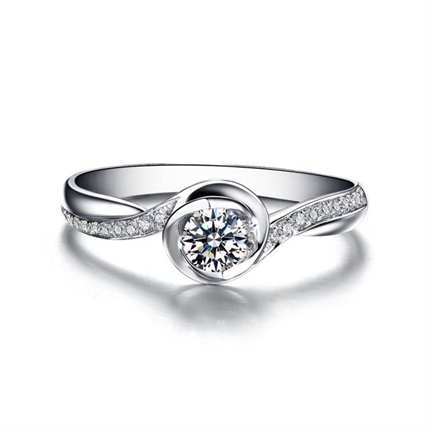 【浪漫心】 白18K金女士戒指
