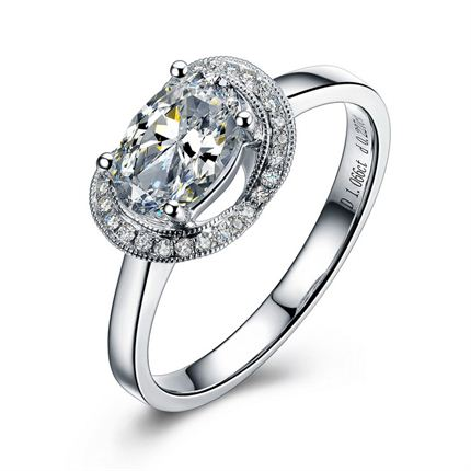 【爱的环绕】 白18K金钻石女士戒指