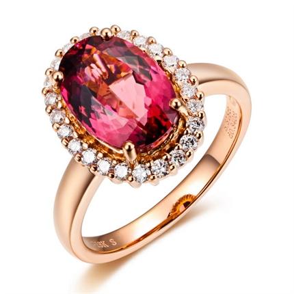 【焰焰之光】 玫瑰金红碧玺戒指