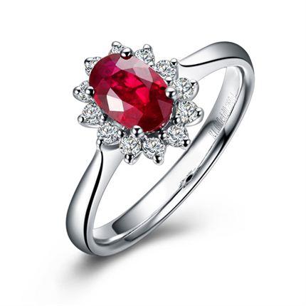 【拥爱】 白18K金红宝石戒指