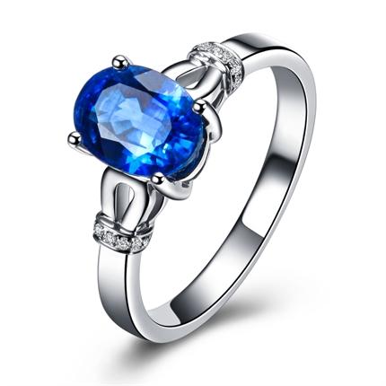 【蓝色海洋】 1克拉白18k金蓝宝石戒指