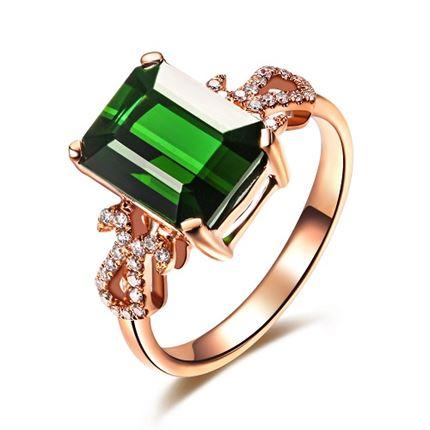 【女王】 玫瑰18k金奢华绿碧玺戒指